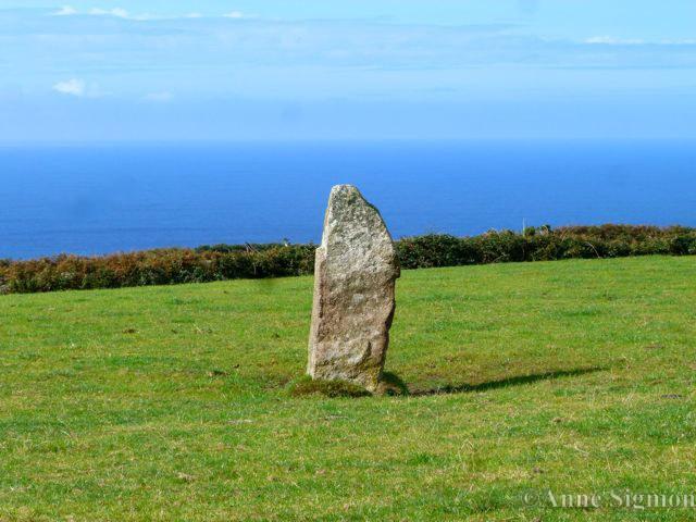 A menhir (standing stone)  near Zennor
